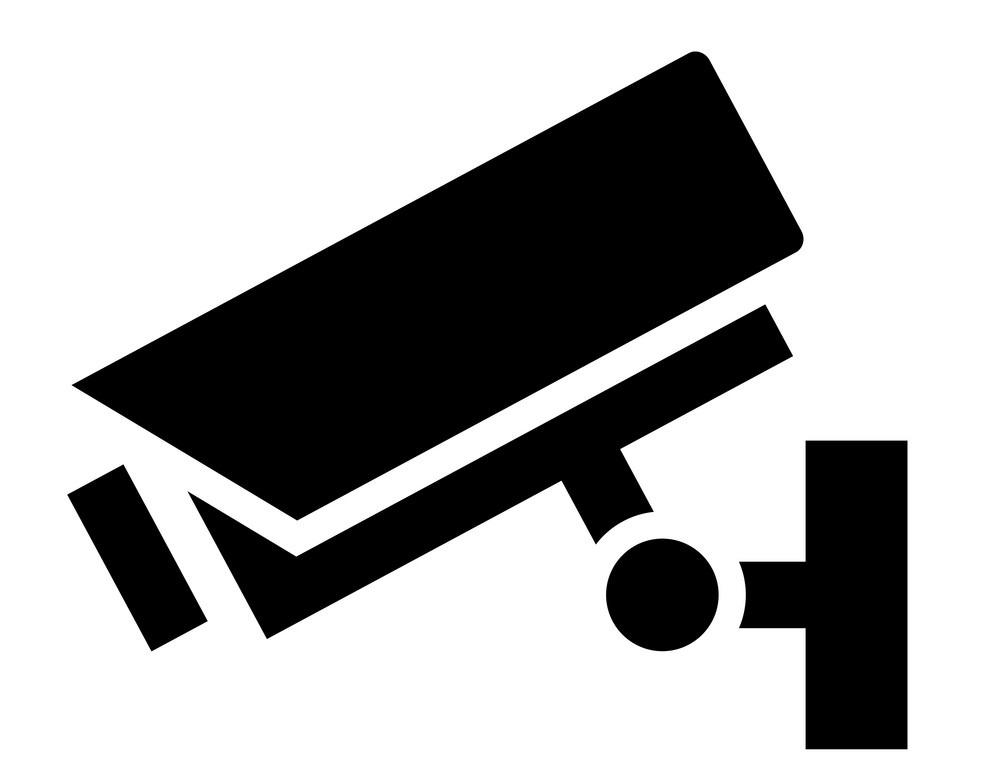 security camera sign icon, vector symbol